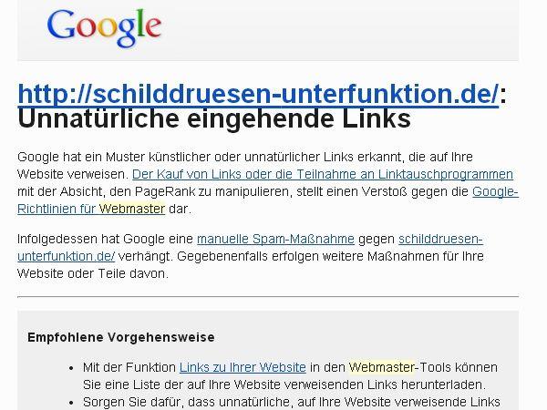 Benachrichtigung von Google über manuelle Abstrafung (Spam-Maßnahme)